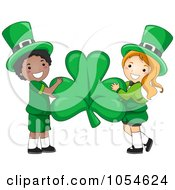 Royalty Free Vector Clip Art Illustration Of A St Patricks Day Leprechaun Boy And Girl Holding A Shamrock by BNP Design Studio