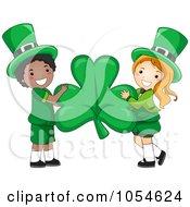 Royalty Free Vector Clip Art Illustration Of A St Patricks Day Leprechaun Boy And Girl Holding A Shamrock