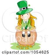 Royalty Free Vector Clip Art Illustration Of A St Patricks Day Leprechaun Girl Sitting On A Pot Of Gold