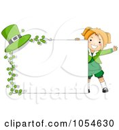 Royalty Free Vector Clip Art Illustration Of A Cute St Patricks Day Girl With A Blank Sign Clovers And A Hat