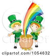 Royalty Free Vector Clip Art Illustration Of A St Patricks Day Leprechaun Girl With Gold At The End Of The Rainbow