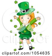 Royalty Free Vector Clip Art Illustration Of A St Patricks Day Leprechaun Girl With Falling Shamrocks by BNP Design Studio
