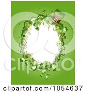 Royalty Free Vector Clip Art Illustration Of A St Patricks Day Background With An Oval Shamrock And Leprechaun Hat Frame