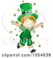 Royalty Free Vector Clip Art Illustration Of A St Patricks Day Leprechaun Boy Running Through Shamrocks by BNP Design Studio