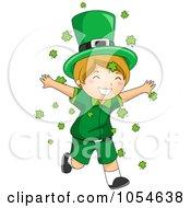 Royalty Free Vector Clip Art Illustration Of A St Patricks Day Leprechaun Boy Running Through Shamrocks