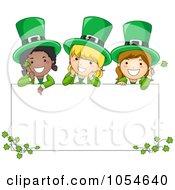 Royalty Free Vector Clip Art Illustration Of St Patricks Day Leprechaun Girls On A Blank Sign