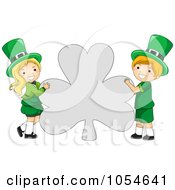 Royalty Free Vector Clip Art Illustration Of A St Patricks Day Leprechaun Boy And Girl Holding A Shamrock Shaped Sign
