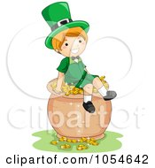 Royalty Free Vector Clip Art Illustration Of A St Patricks Day Leprechaun Boy Sitting On A Pot Of Gold by BNP Design Studio