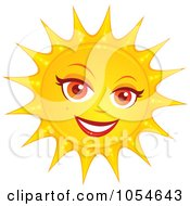 Royalty Free Vector Clip Art Illustration Of A Pretty Female Sun by John Schwegel