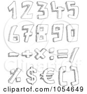 Royalty Free Vector Clip Art Illustration Of A Digital Collage Of Sketched Numbers And Math Symbols