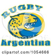 Royalty Free Vector Clip Art Illustration Of An Argentina Rugby Jaguar 1