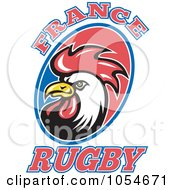 Royalty Free Vector Clip Art Illustration Of A France Rugby Rooster by patrimonio