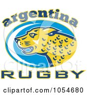 Royalty Free Vector Clip Art Illustration Of An Argentina Rugby Jaguar 2