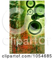 Royalty Free Clip Art Illustration Of Green Speakers Over Rust
