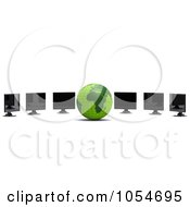 Royalty Free Clip Art Illustration Of A 3d Green Globe And Computer Monitors