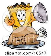 Clipart Picture Of A Yellow Admission Ticket Mascot Cartoon Character Serving A Thanksgiving Turkey On A Platter