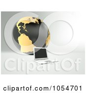 Royalty Free Clip Art Illustration Of A 3d Laptop By A Black And Gold Globe