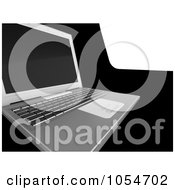 Royalty Free Clip Art Illustration Of A 3d Laptop On Black And White by chrisroll