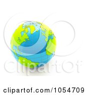 Royalty Free Clip Art Illustration Of A 3d Shiny Blue Earth With Green Continents by chrisroll