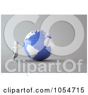 Royalty Free Clip Art Illustration Of A 3d White Person Leaning Against A Blue And White Globe