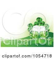 St Patricks Day Background Of Beer A Banner Clovers And Waves
