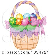 Royalty Free Vector Clip Art Illustration Of A Basket Of Colorful Easter Eggs