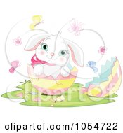Royalty Free Vector Clip Art Illustration Of An Adorable Baby Easter Bunny In An Egg