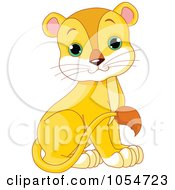 Royalty-Free Vector Clip Art Illustration of a Cute Baby Female Lion by Pushkin