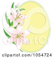 Royalty Free Vector Clip Art Illustration Of A Yellow Oval Frame With Pink Lilies by Pushkin
