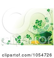 St Patricks Day Background Of Gold Clovers And A Leprechaun Hat