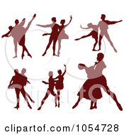 Royalty Free Vector Clip Art Illustration Of A Digital Collage Of Brown Silhouetted Ballet Dancers