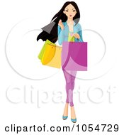 Royalty Free Vector Clip Art Illustration Of A Young Asian Girl Carrying Shopping Bags by Pushkin