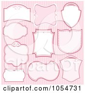 Royalty Free Vector Clip Art Illustration Of A Digital Collage Of Pink And White Frames On Stripes by Pushkin