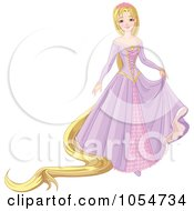 Royalty Free Vector Clip Art Illustration Of A Long Haired Blond Princess In A Purple Dress