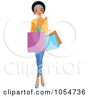 Royalty Free Vector Clip Art Illustration Of A Young Black Girl Carrying Shopping Bags by Pushkin