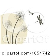Royalty Free Vector Clip Art Illustration Of A Background Of Dragonflies And Dandelions by vectorace