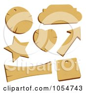 Royalty Free Vector Clip Art Illustration Of A Digital Collage Of Wooden Labels And Banners