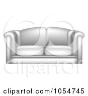 Royalty Free Vector Clip Art Illustration Of A 3d White Leather Couch by vectorace