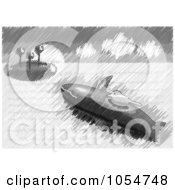 Royalty Free Vector Clip Art Illustration Of A Whale Helping A Bird To An Island