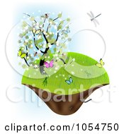 Spring Tree With Butterflies On A Floating Island