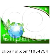 Royalty Free Vector Clip Art Illustration Of A Green Vine And Blue Earth Background With White Copyspace