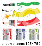 Royalty Free Vector Clip Art Illustration Of A Digital Collage Of 3d Paint Brushes And Buckets
