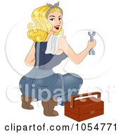 Royalty Free Vector Clip Art Illustration Of A Sexy Retro Mechanic Pinup