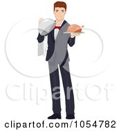 Royalty Free Vector Clip Art Illustration Of A Friendly Waiter Serving Poultry by BNP Design Studio