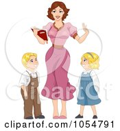 Royalty Free Vector Clip Art Illustration Of A Sexy Retro Teacher And Children Pinup