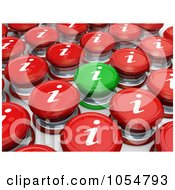 Royalty Free CGI Clip Art Illustration Of A 3d Green Information Button Standing Out From Red Buttons by 3poD