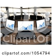 Royalty Free CGI Clip Art Illustration Of 3d White People Working On Laptops In A Statistics Meeting