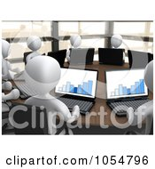 Royalty Free CGI Clip Art Illustration Of 3d White People Working On Laptops In A Financial Meeting