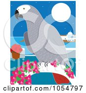 African Gray Parrot On A Coastal Perch