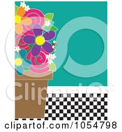 Flower Pot And Bee Against Turquoise And A Checkered Floor